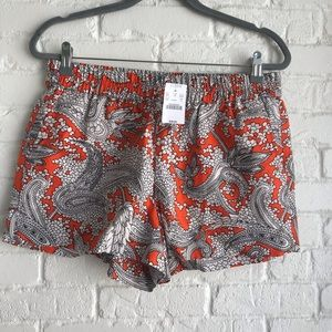 J crew linen orange floral printed shorts NWT 8